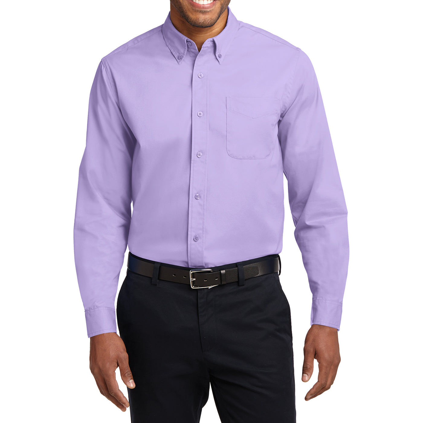 Men's Long Sleeve Easy Care Shirt - Bright Lavender - Front