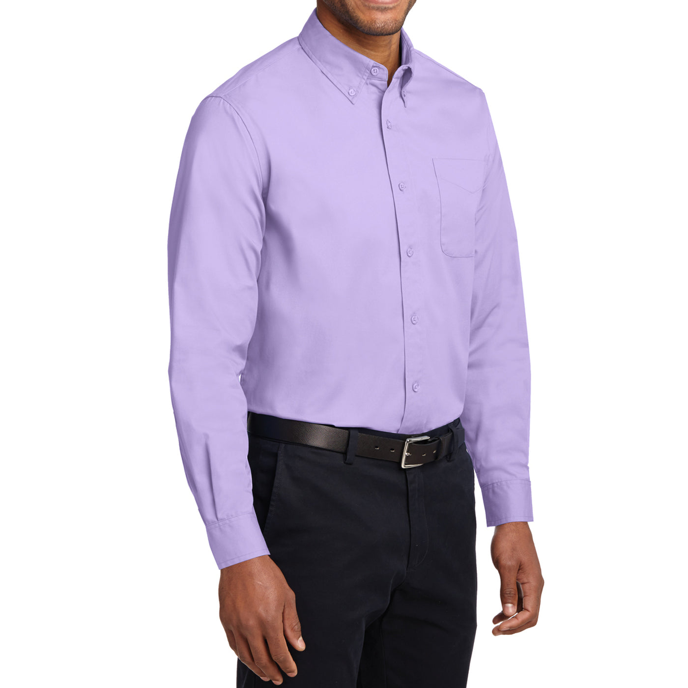 Men's Long Sleeve Easy Care Shirt - Bright Lavender - Side