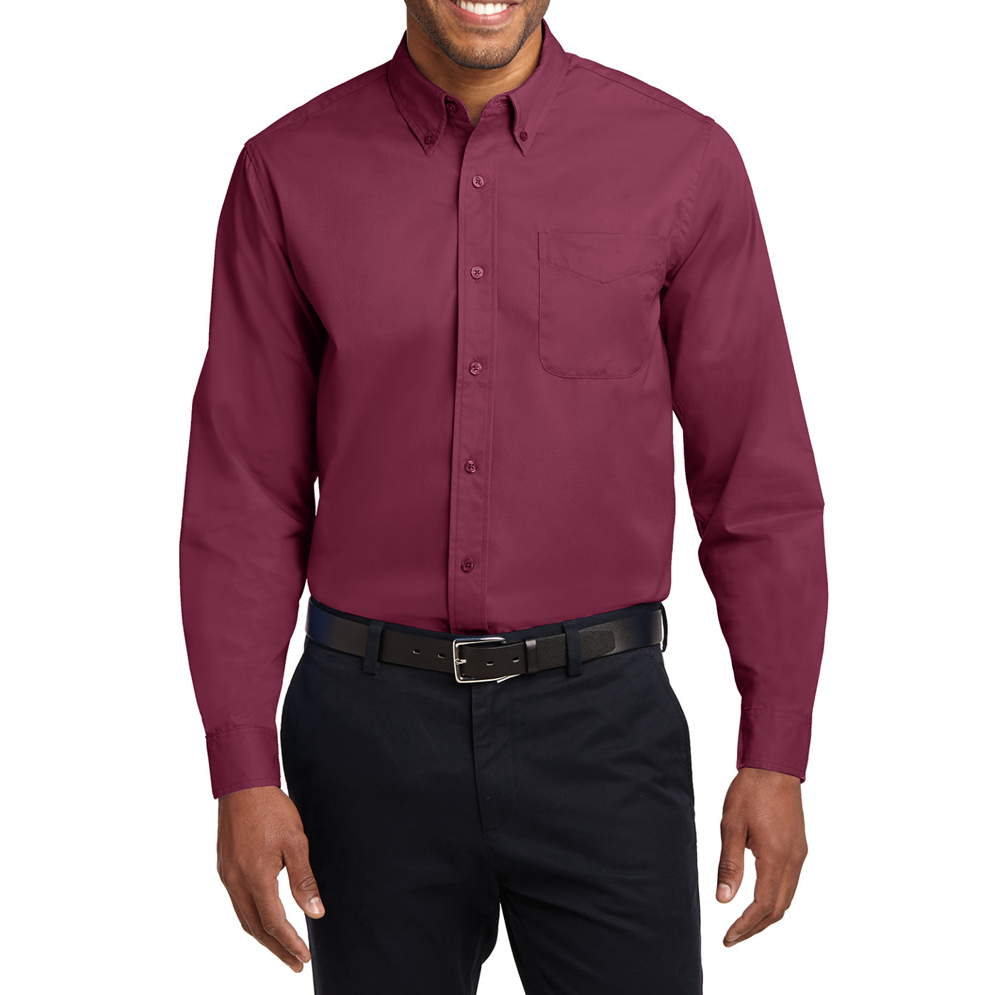 Men's Long Sleeve Easy Care Shirt - Burgundy/ Light Stone - Front