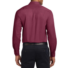 Men's Long Sleeve Easy Care Shirt - Burgundy/ Light Stone - Back