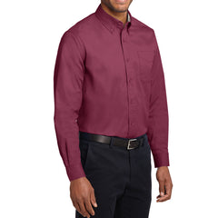Men's Long Sleeve Easy Care Shirt - Burgundy/ Light Stone - Side