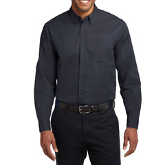 Men's Long Sleeve Easy Care Shirt - Classic Navy/ Light Stone - Front
