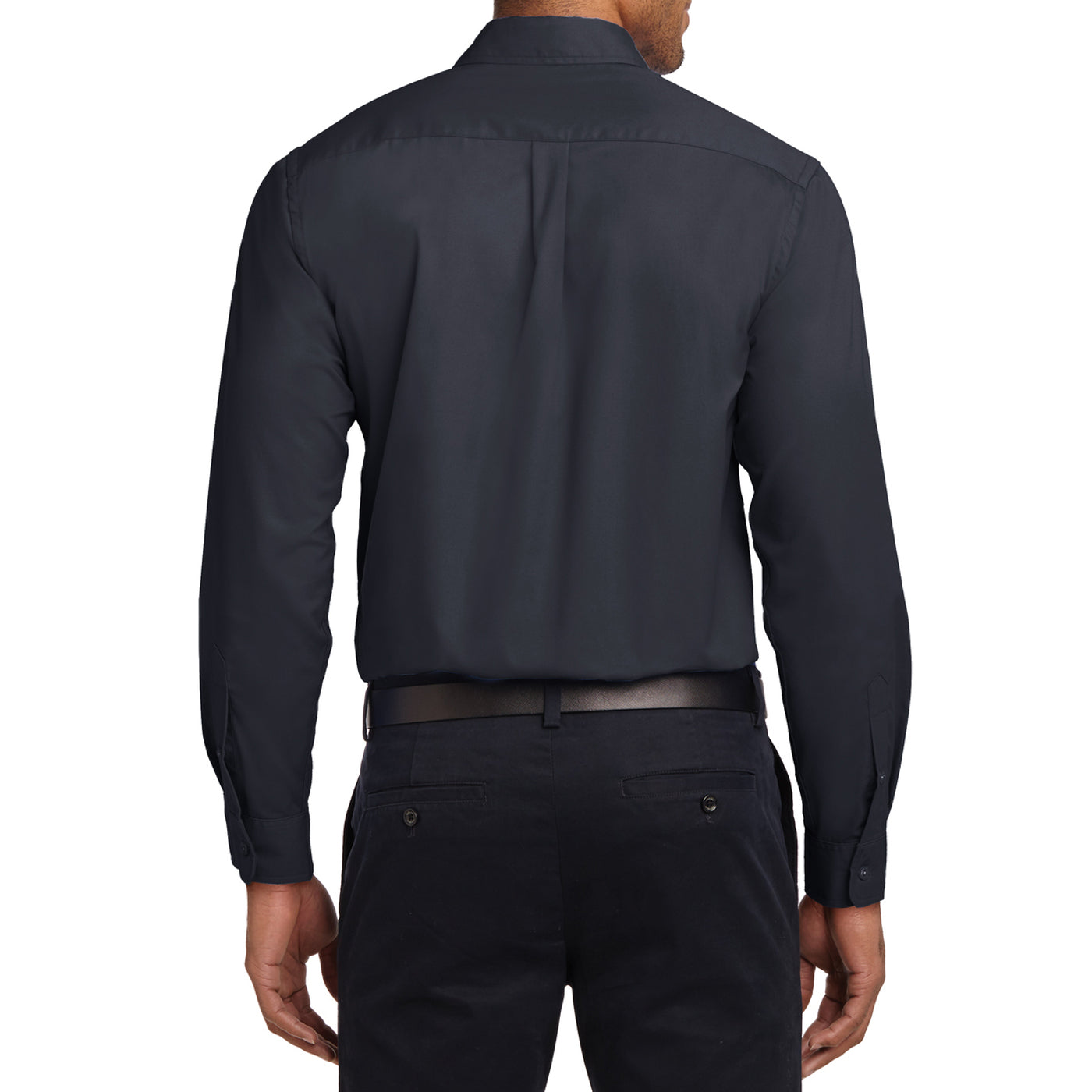 Men's Long Sleeve Easy Care Shirt - Classic Navy/ Light Stone - Back