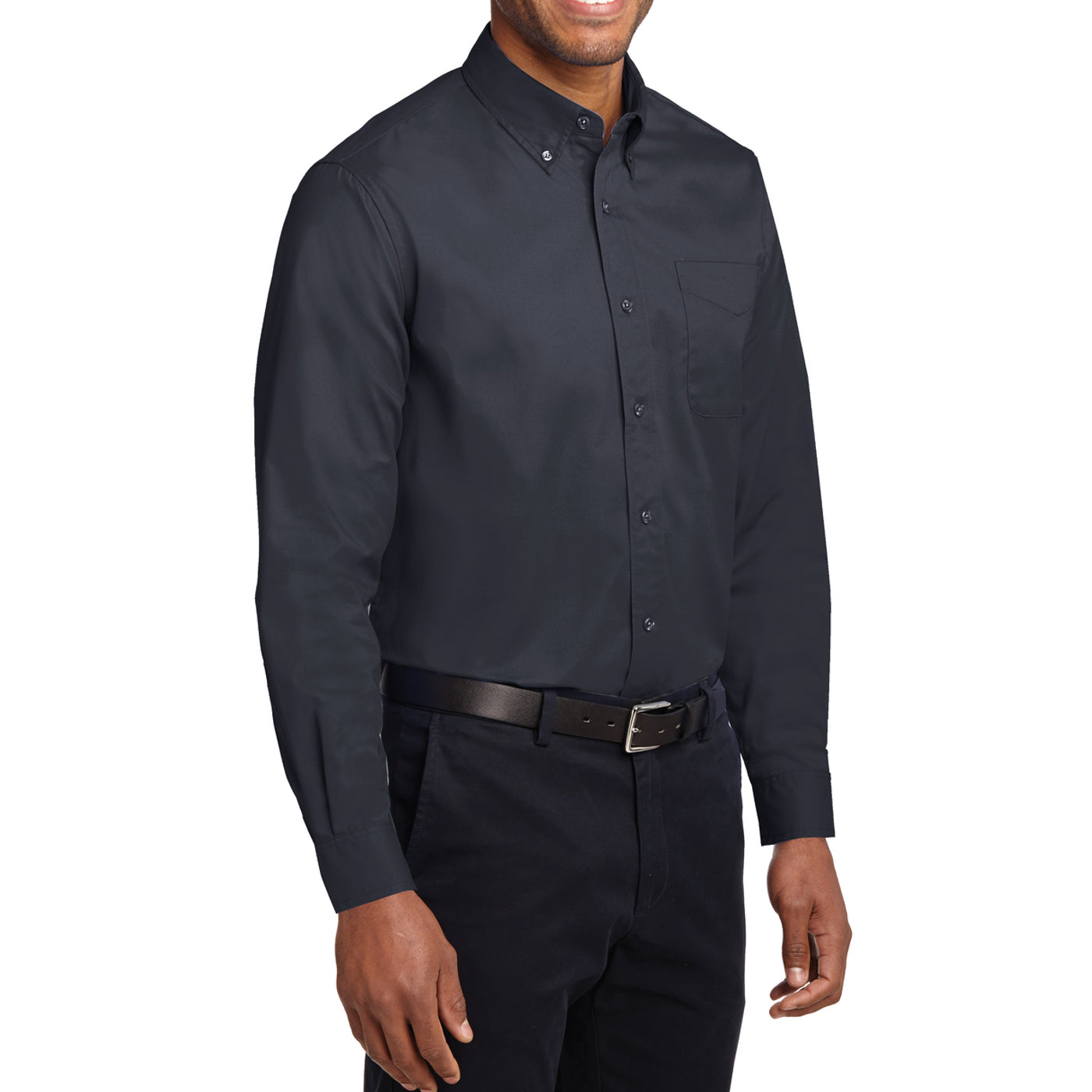 Men's Long Sleeve Easy Care Shirt - Classic Navy/ Light Stone - Side