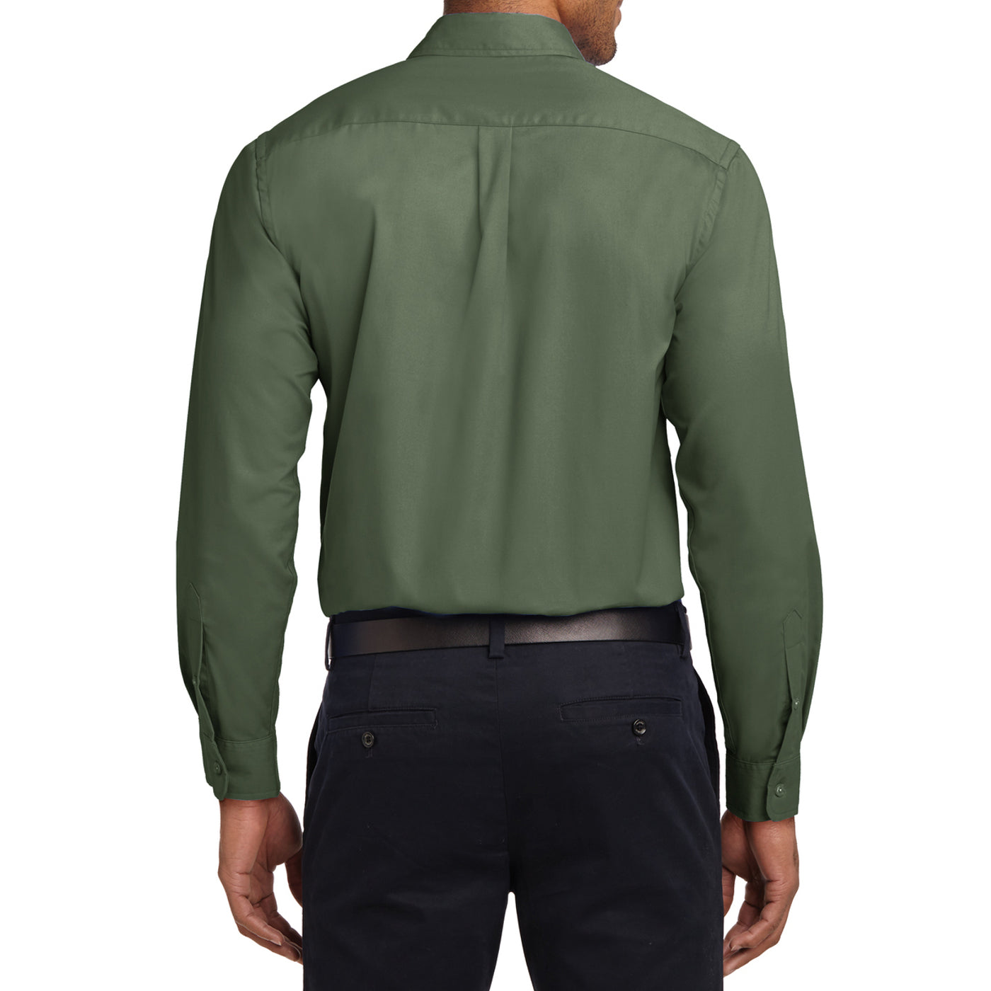Men's Long Sleeve Easy Care Shirt - Clover Green - Back