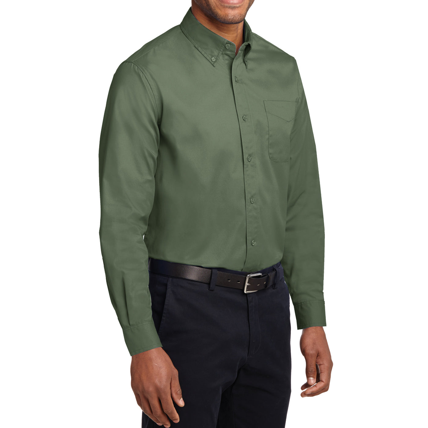 Men's Long Sleeve Easy Care Shirt - Clover Green - Side