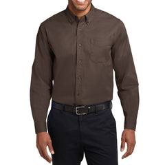 Men's Long Sleeve Easy Care Shirt - Coffee Bean/ Light Stone - Front