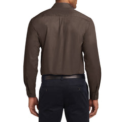 Men's Long Sleeve Easy Care Shirt - Coffee Bean/ Light Stone - Back