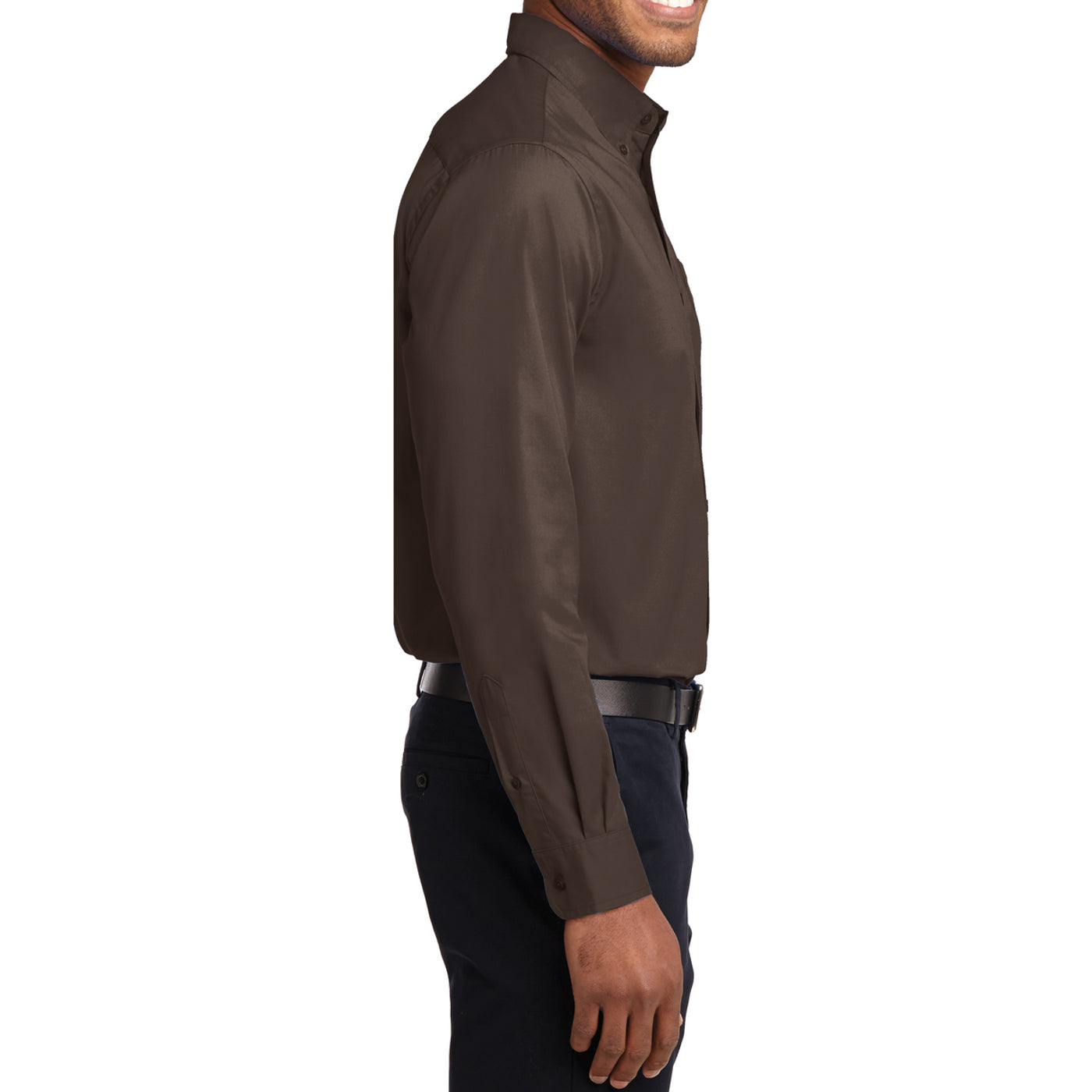 Men's Long Sleeve Easy Care Shirt - Coffee Bean/ Light Stone - Side