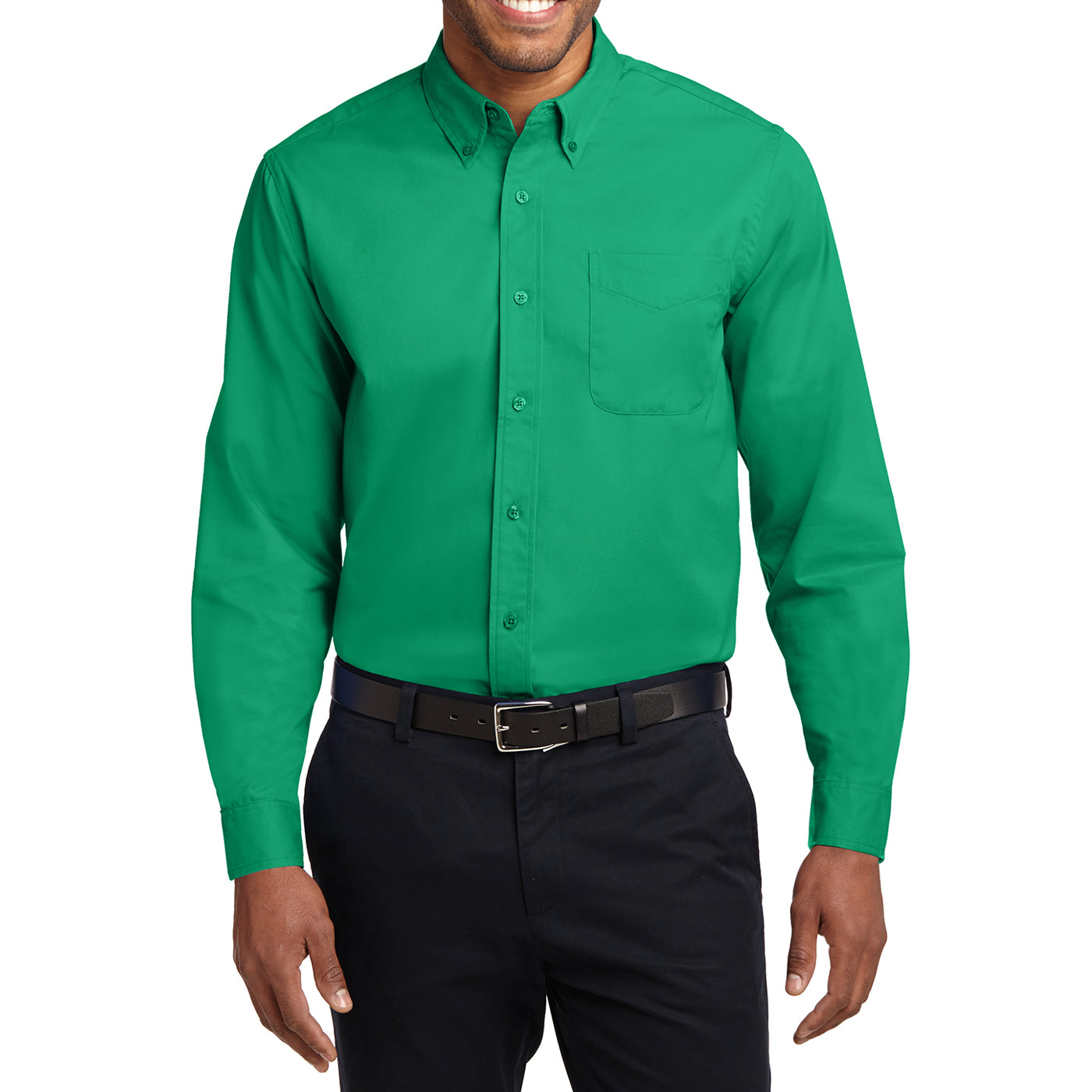 Men's Long Sleeve Easy Care Shirt - Court Green - Front
