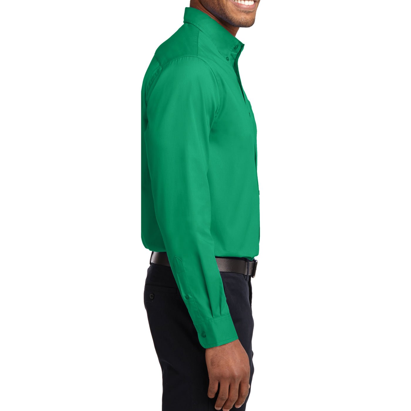 Men's Long Sleeve Easy Care Shirt - Court Green - Side