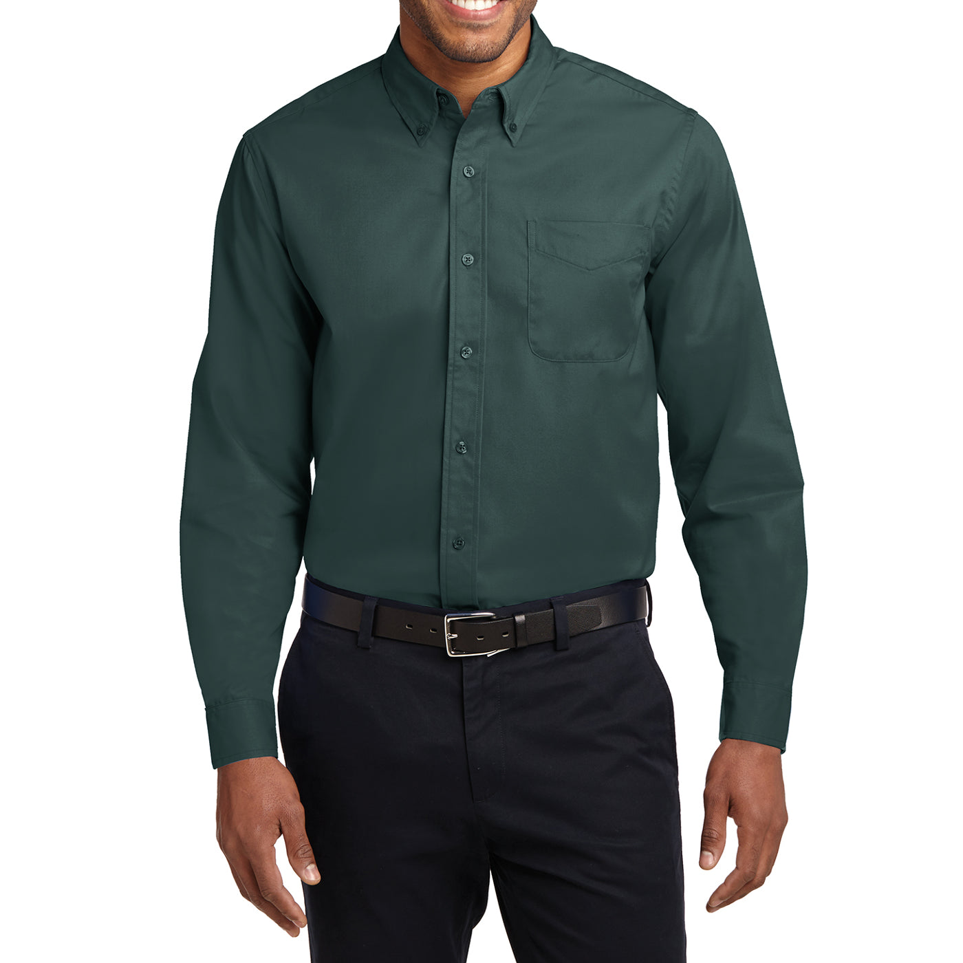 Men's Long Sleeve Easy Care Shirt - Dark Green/ Navy - Front
