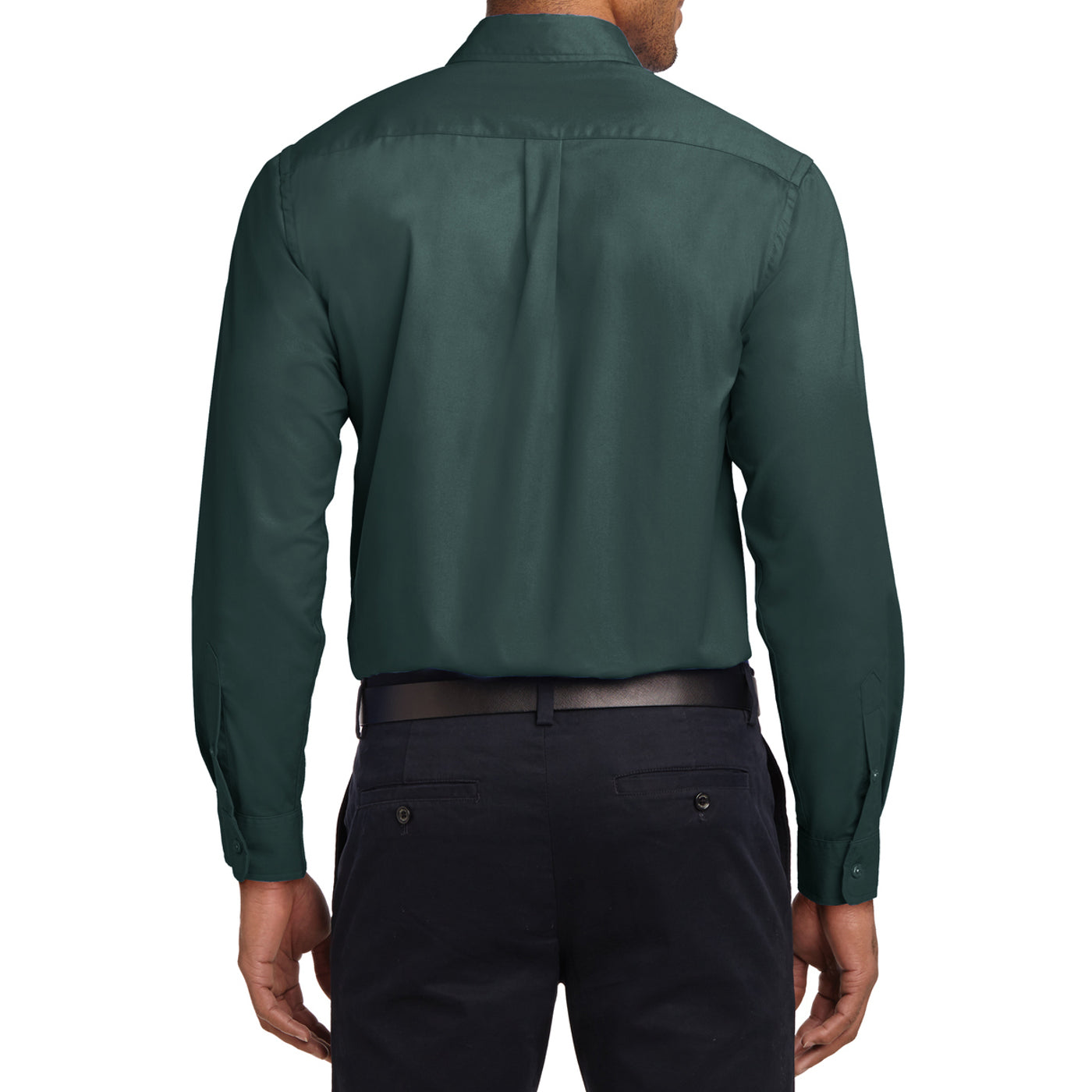 Men's Long Sleeve Easy Care Shirt - Dark Green/ Navy - Back