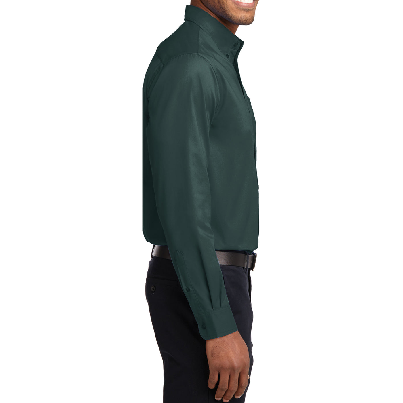 Men's Long Sleeve Easy Care Shirt - Dark Green/ Navy - Side