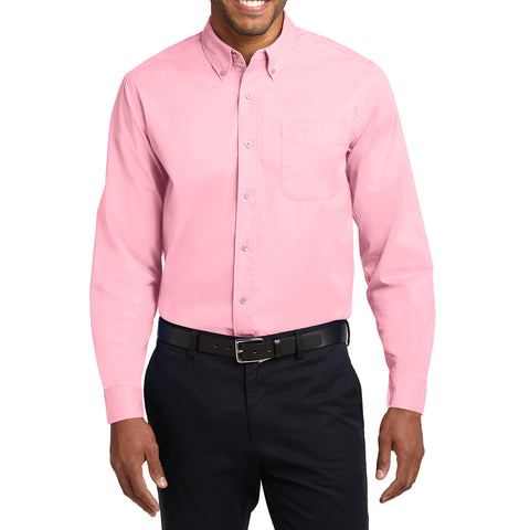 Men's Long Sleeve Easy Care Shirt - Light Pink - Front