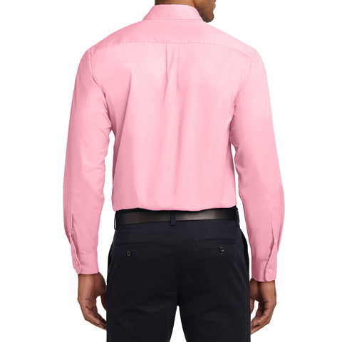Men's Long Sleeve Easy Care Shirt - Light Pink - Back