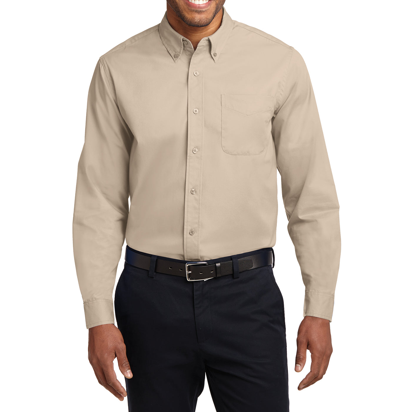 Men's Long Sleeve Easy Care Shirt - Stone - Front