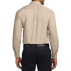 Men's Long Sleeve Easy Care Shirt - Stone - Back