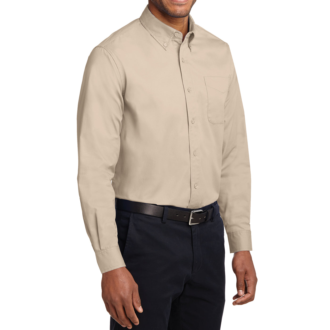 Men's Long Sleeve Easy Care Shirt - Stone - Side