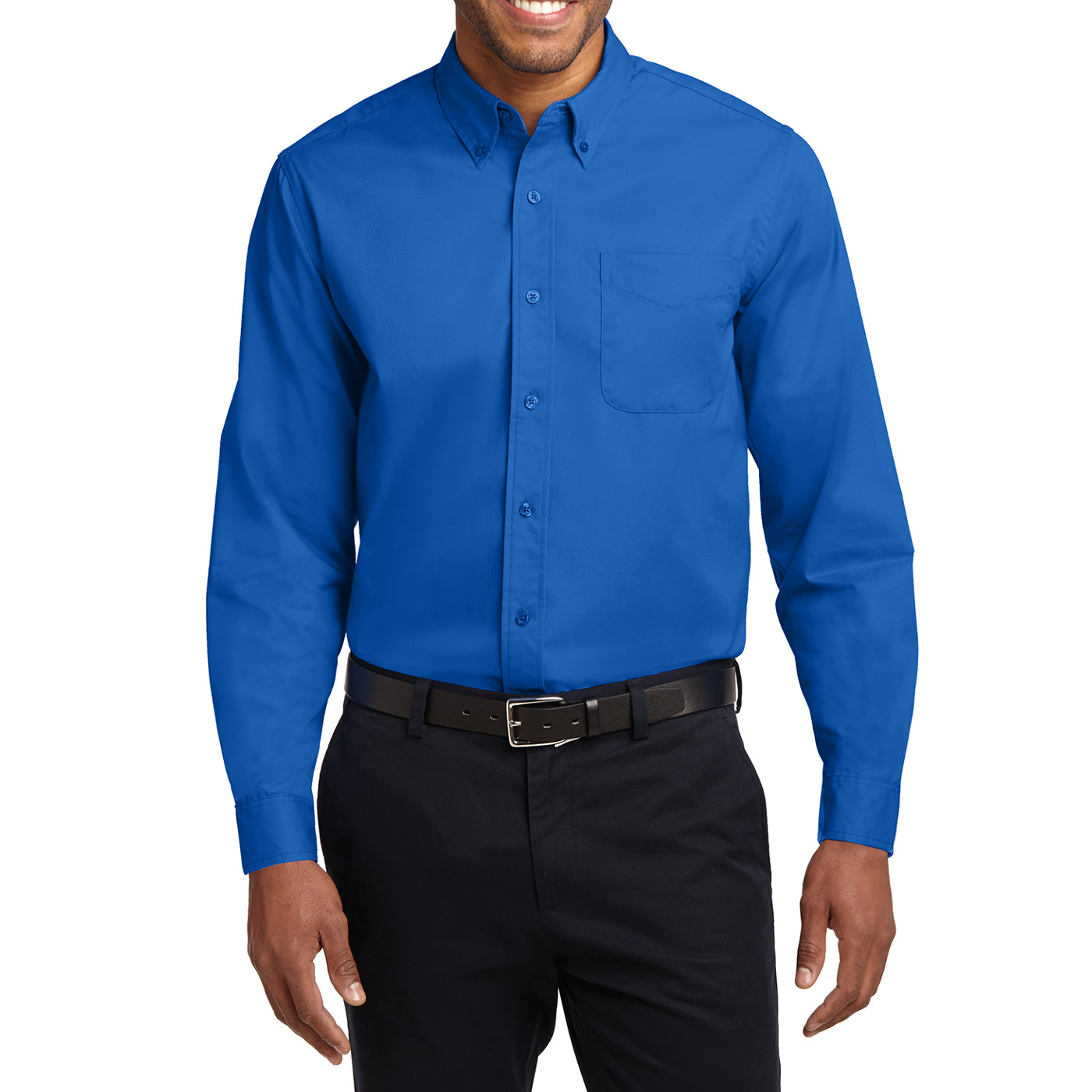 Men's Long Sleeve Easy Care Shirt - Strong Blue - Front