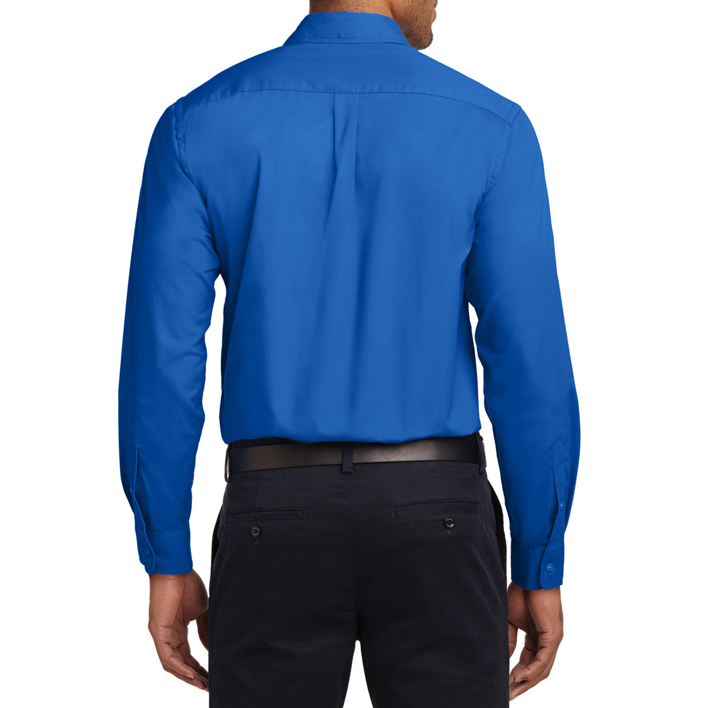 Men's Long Sleeve Easy Care Shirt - Strong Blue - Back