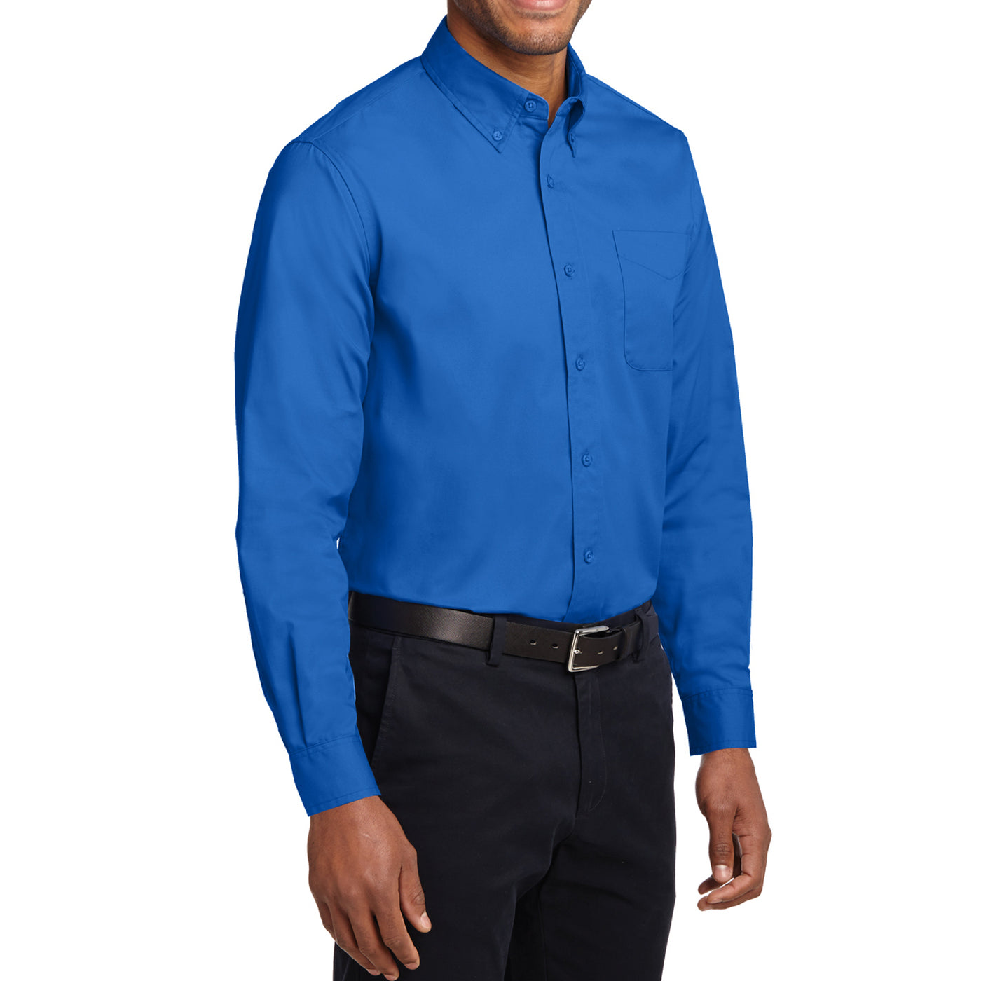 Men's Long Sleeve Easy Care Shirt - Strong Blue - Side