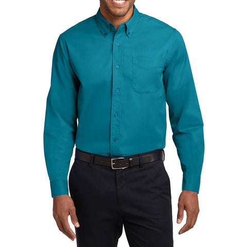 Men's Long Sleeve Easy Care Shirt - Teal Green - Front