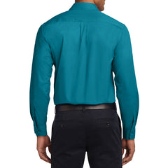 Men's Long Sleeve Easy Care Shirt - Teal Green - Back