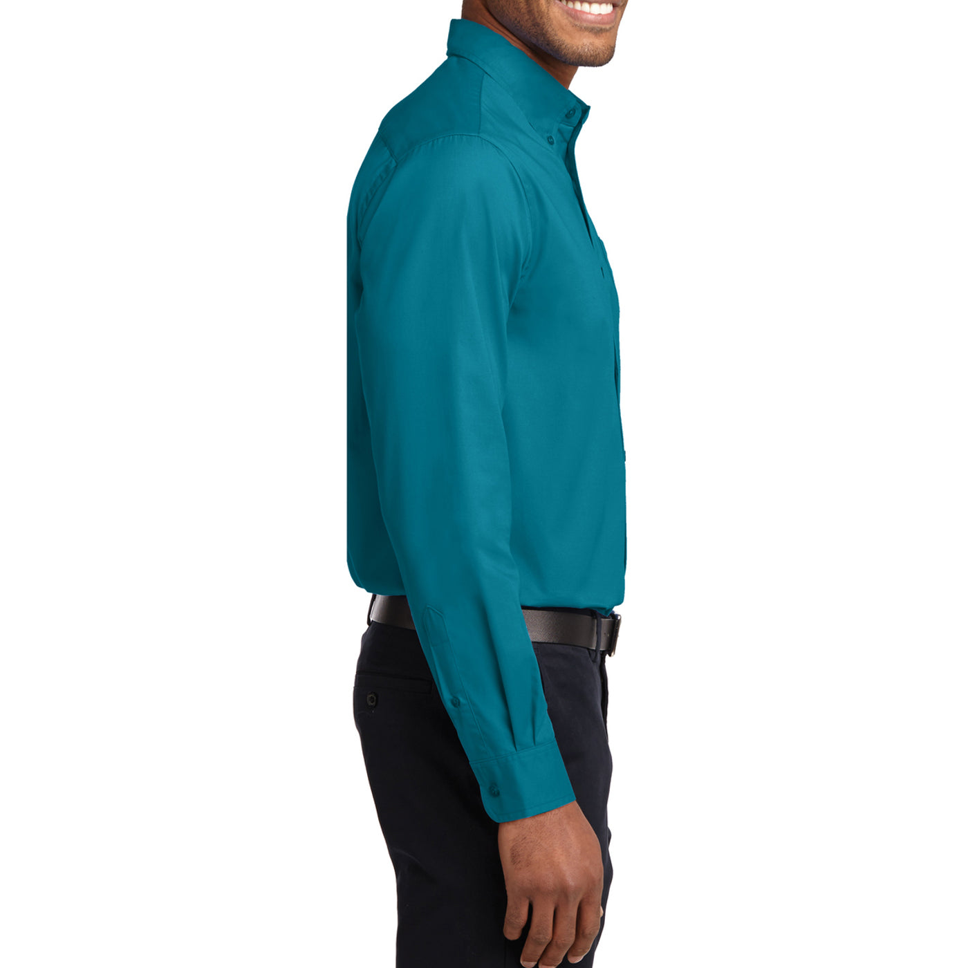 Men's Long Sleeve Easy Care Shirt - Teal Green - Side
