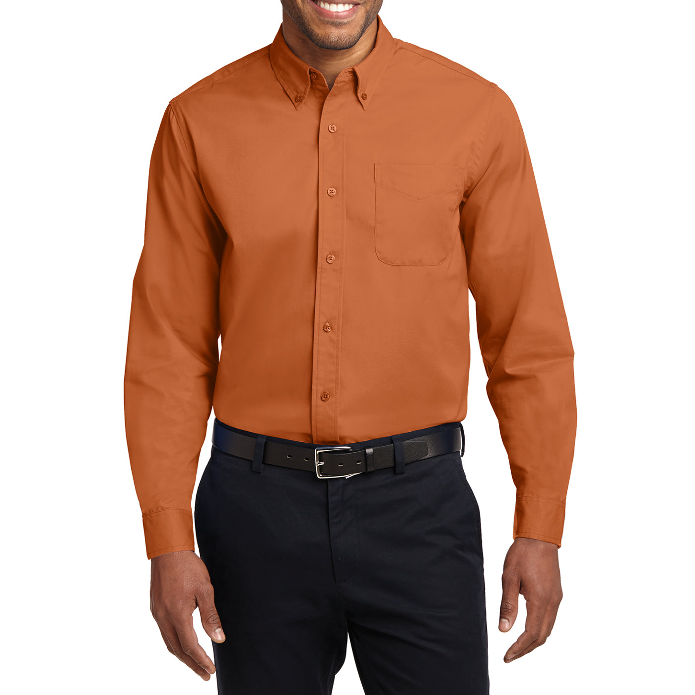 Men's Long Sleeve Easy Care Shirt - Texas Orange/ Light Stone - Front