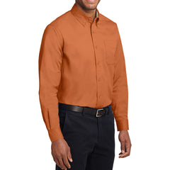Men's Long Sleeve Easy Care Shirt - Texas Orange/ Light Stone - Side