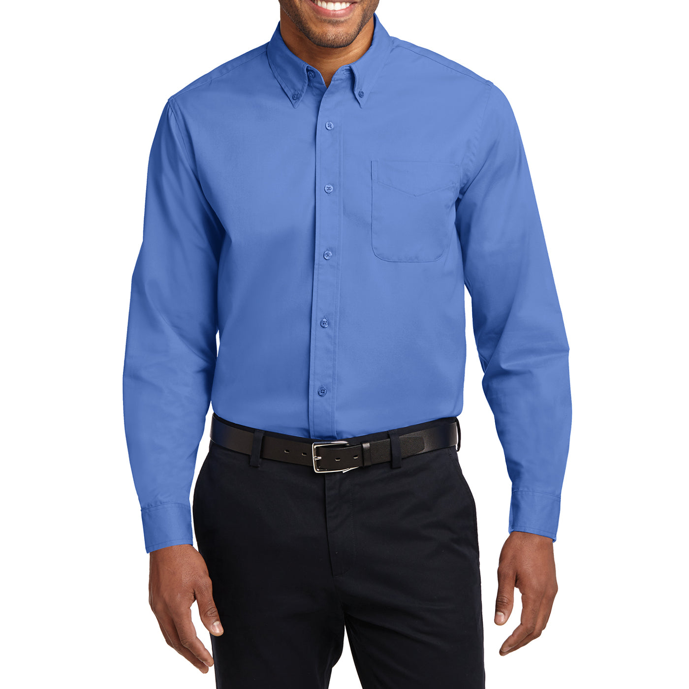 Men's Long Sleeve Easy Care Shirt - Ultramarine Blue - Front
