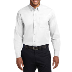 Men's Long Sleeve Easy Care Shirt - White/ Light Stone - Front