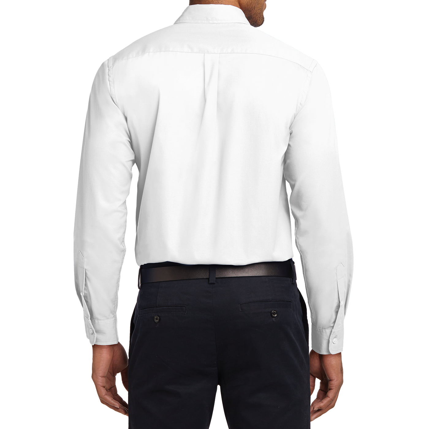 Men's Long Sleeve Easy Care Shirt - White/ Light Stone - Back