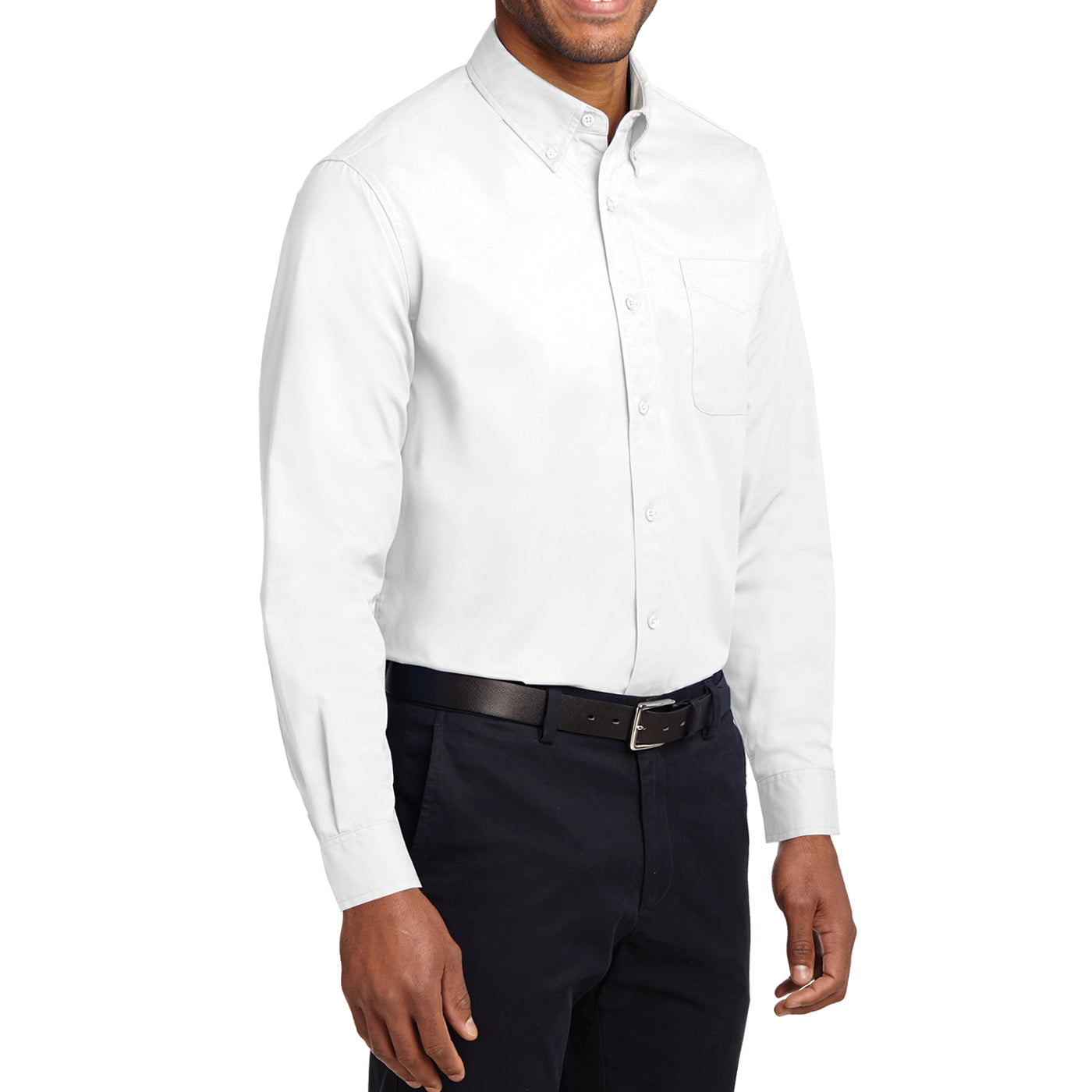 Men's Long Sleeve Easy Care Shirt - White/ Light Stone - Side