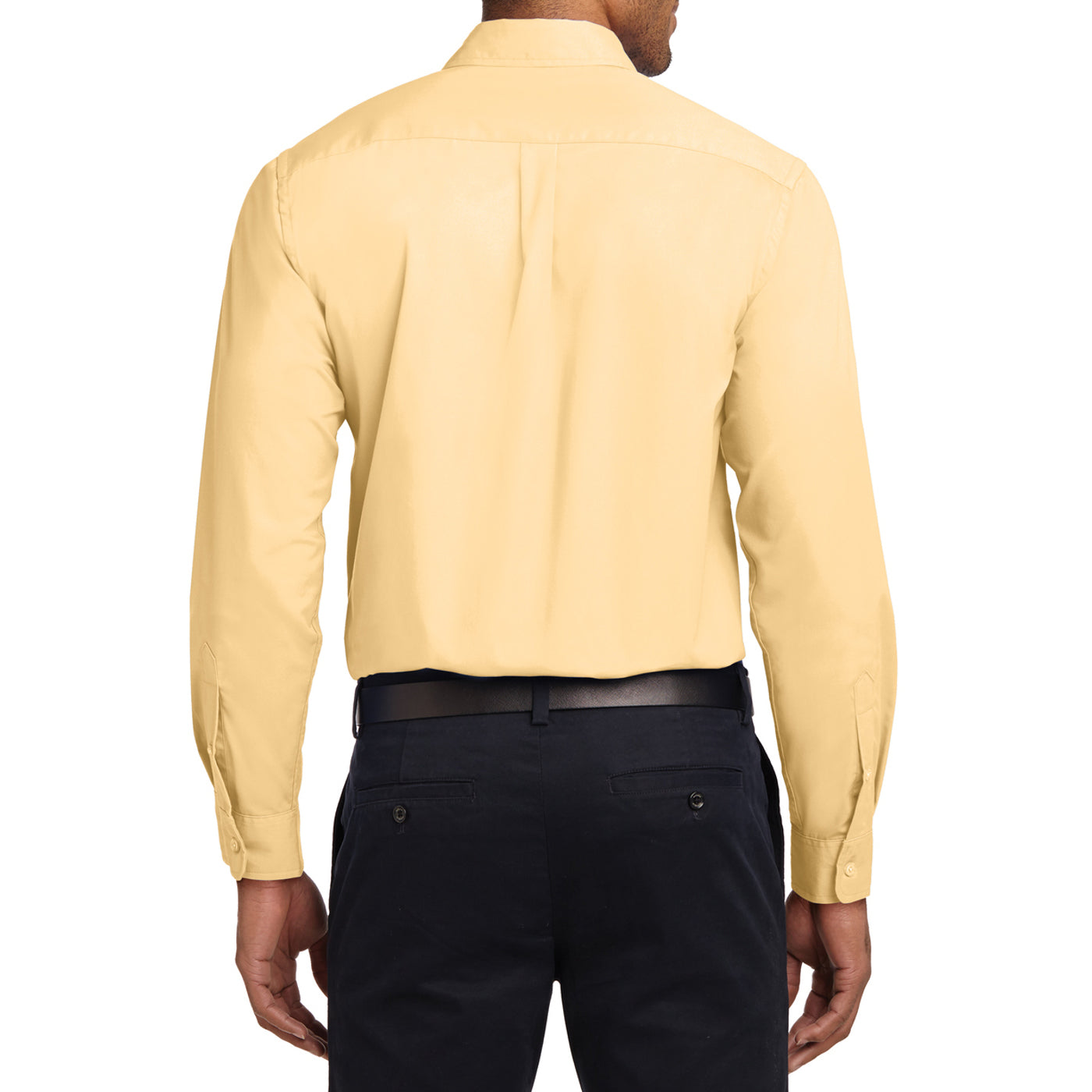 Men's Long Sleeve Easy Care Shirt - Yellow - Back