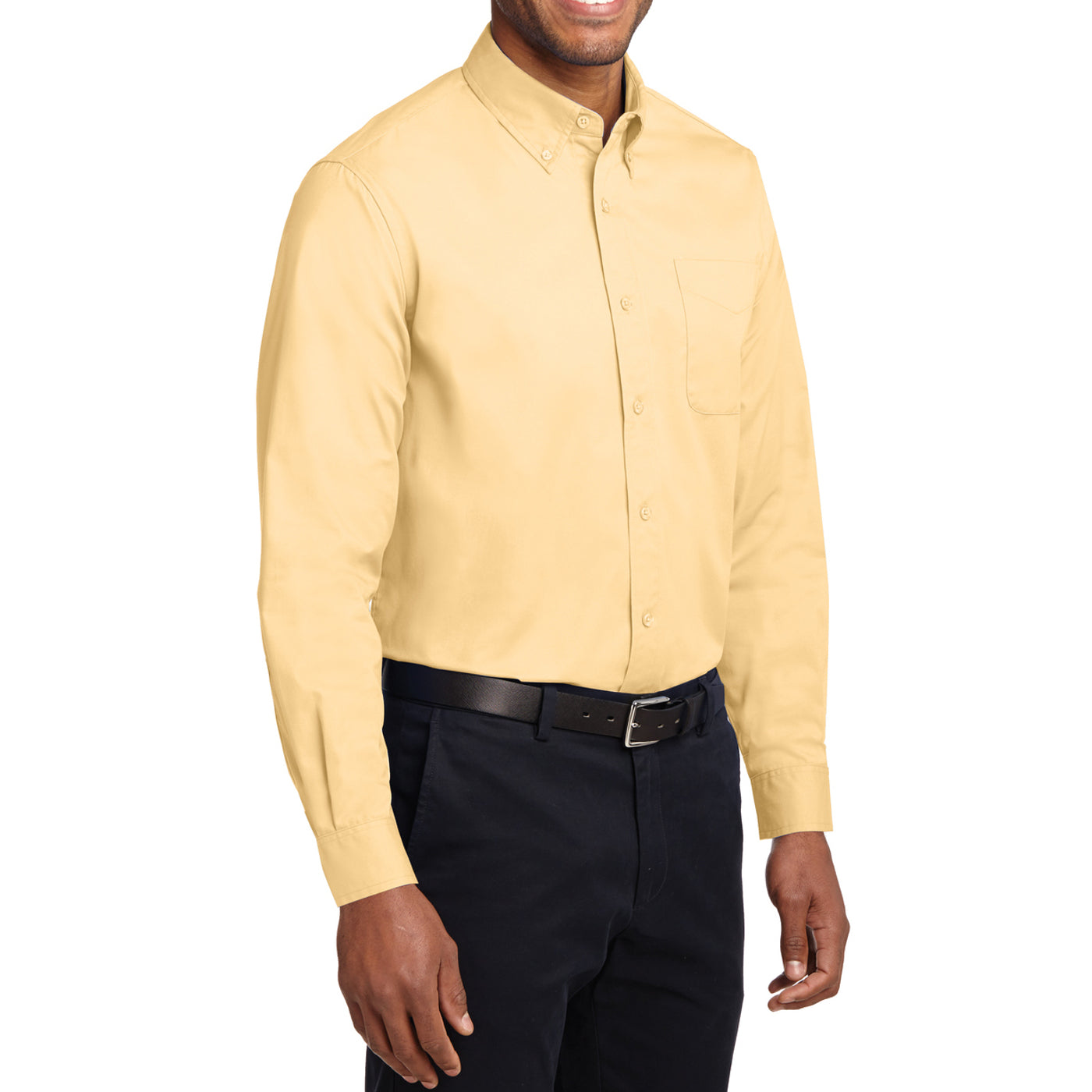 Men's Long Sleeve Easy Care Shirt - Yellow - Side