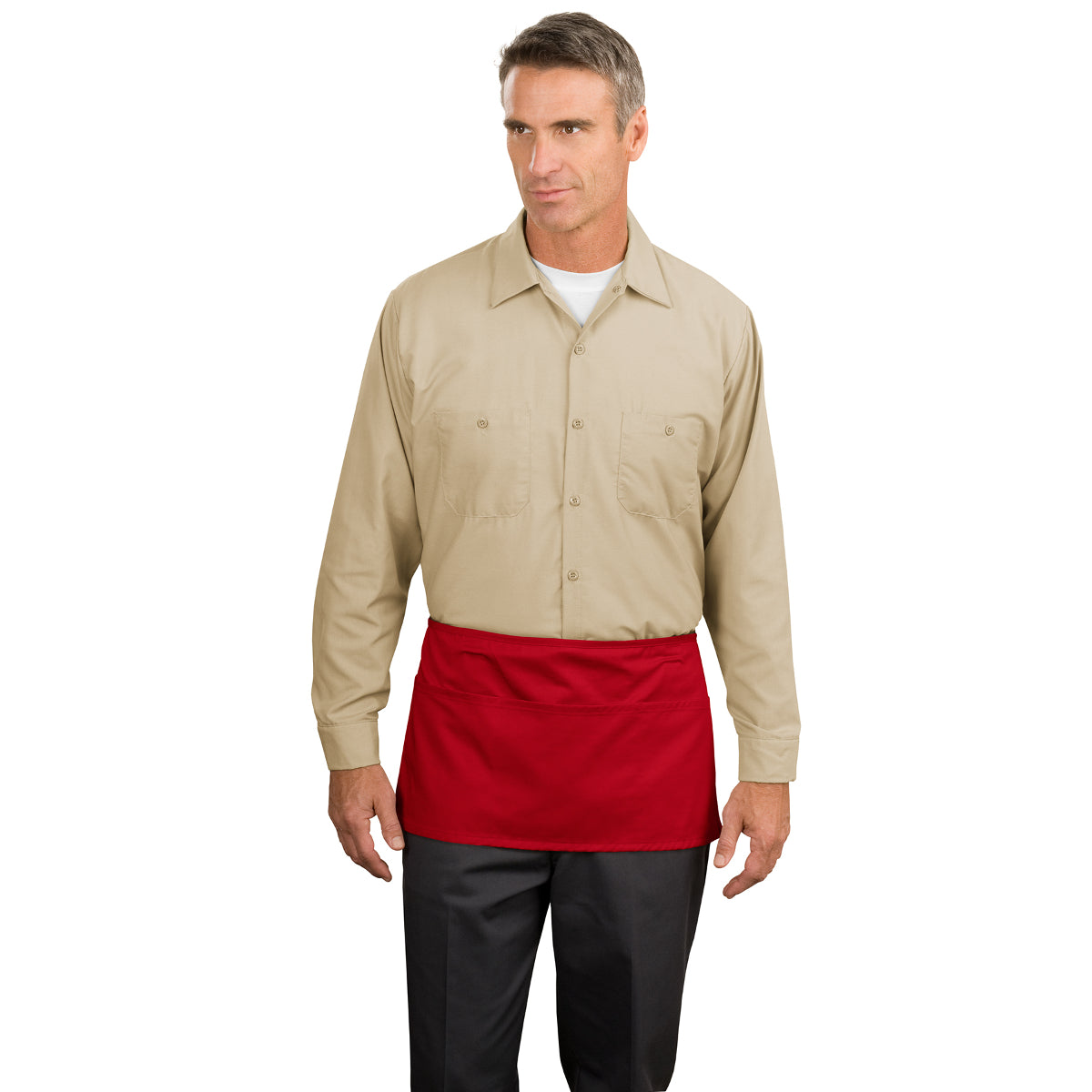Waist Apron with Pockets Red