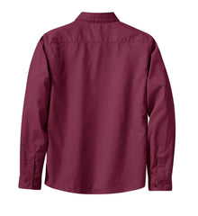 Mafoose Women's Long Sleeve Easy Care Shirt Burgundy/Light Stone-Back