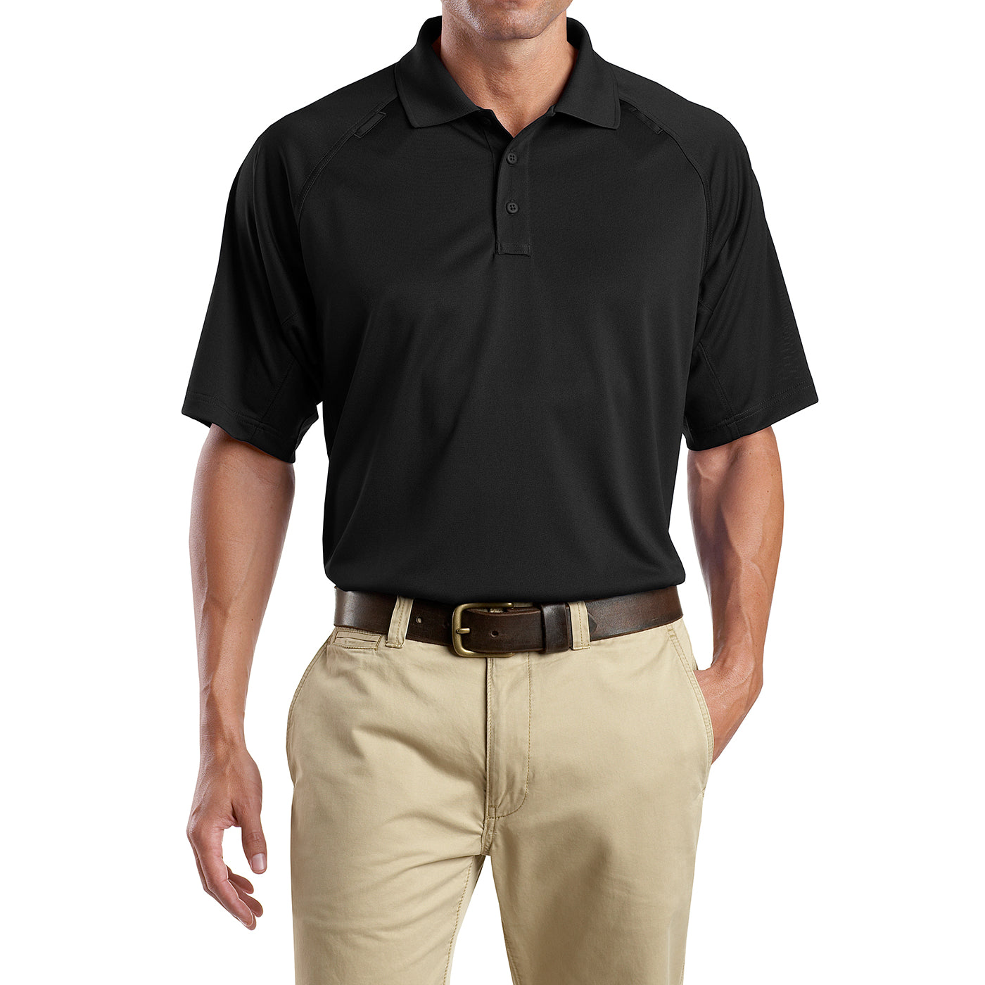 Men's Snag-Proof Tactical Polo Shirt - Black - Front