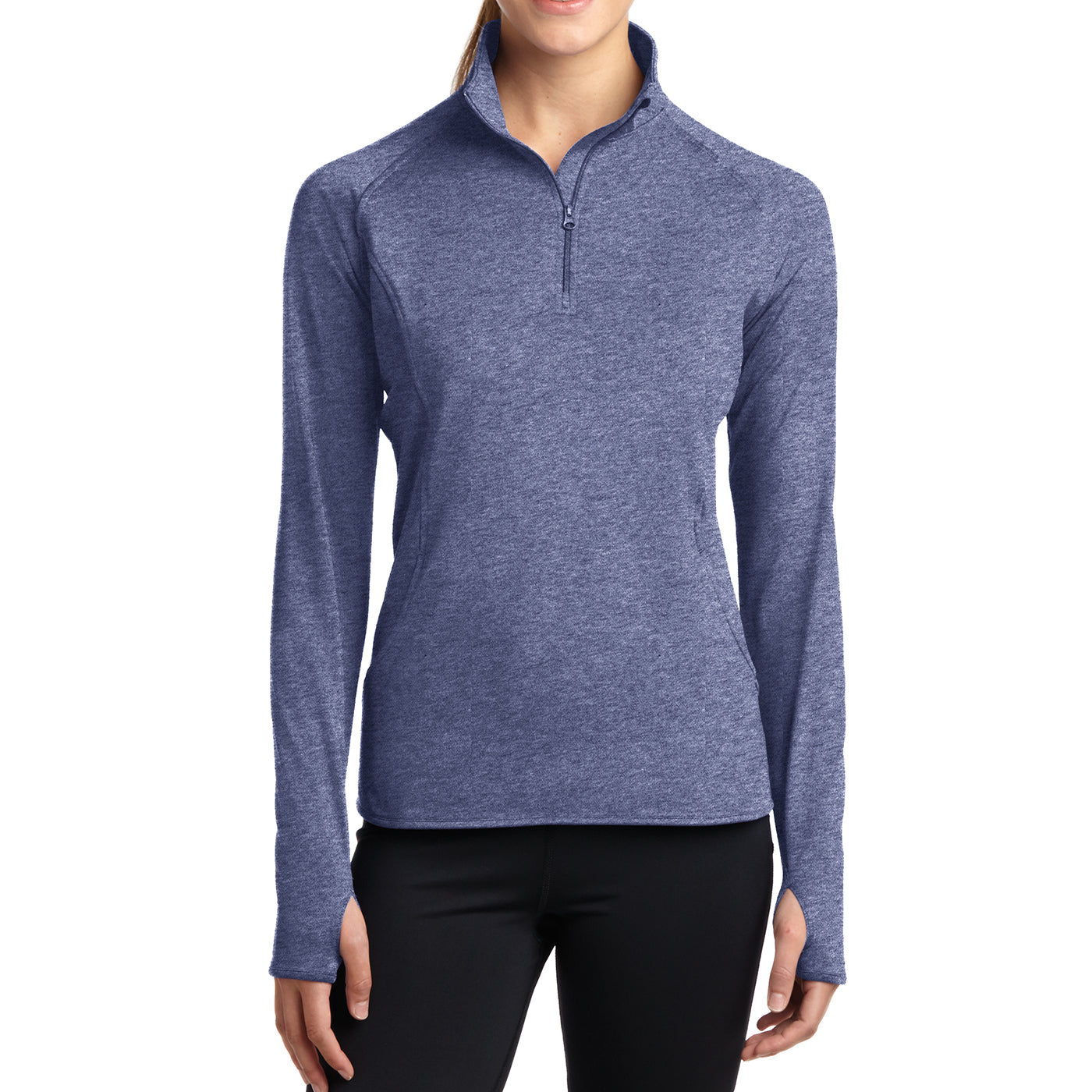 Women's Sport Wick Stretch 1/2 Zip Pullover - True Navy Heather - Front