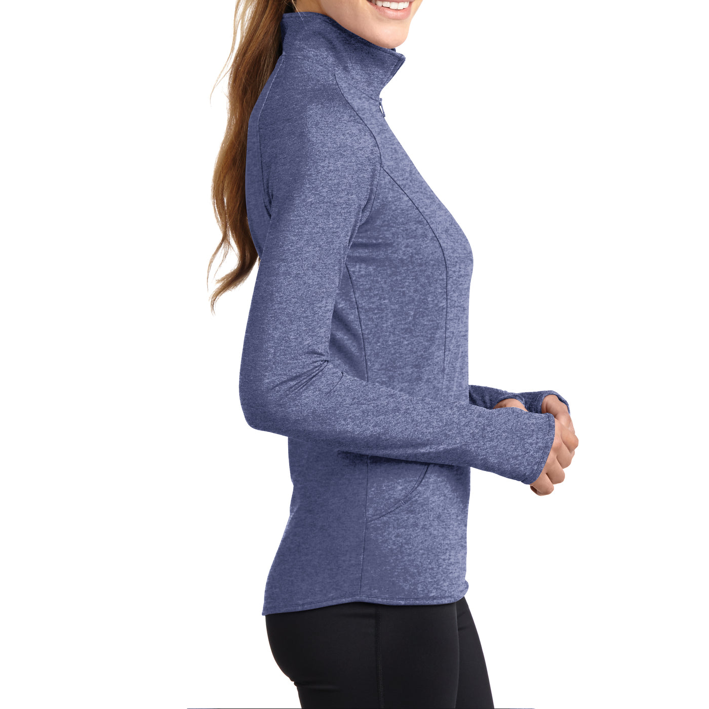 Women's Sport Wick Stretch 1/2 Zip Pullover - True Navy Heather - Side