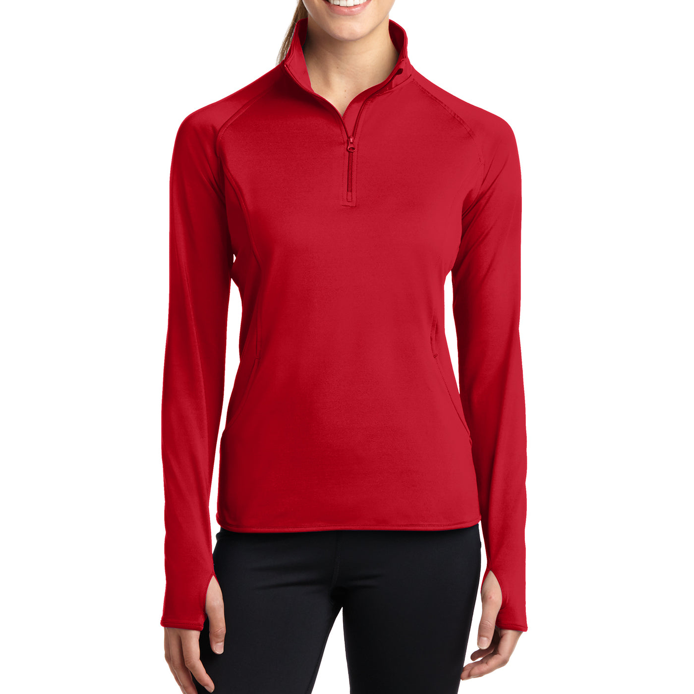 Women's Sport Wick Stretch 1/2 Zip Pullover - True Red - Front