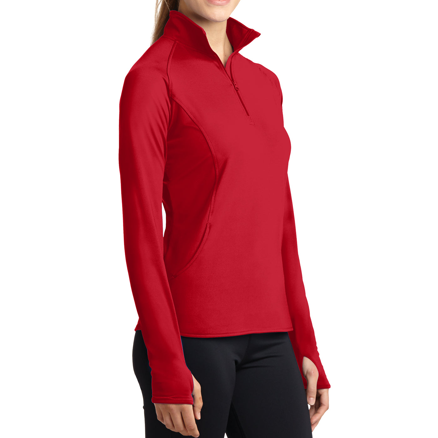 Women's Sport Wick Stretch 1/2 Zip Pullover - True Red - Side