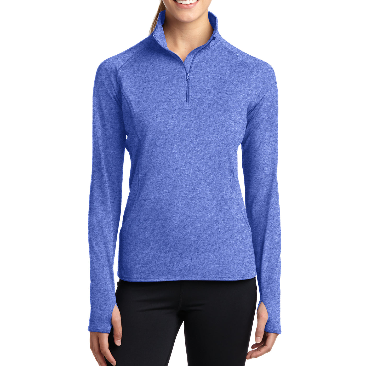 Women's Sport Wick Stretch 1/2 Zip Pullover - True Royal Heather - Front