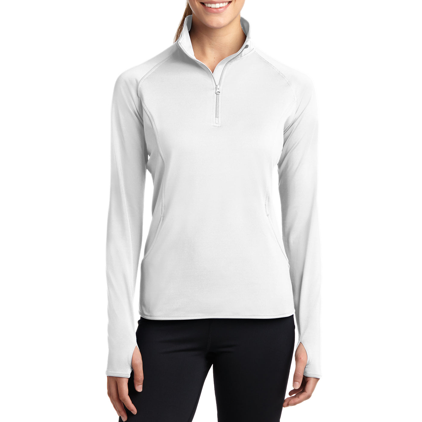 Women's Sport Wick Stretch 1/2 Zip Pullover - White - Front