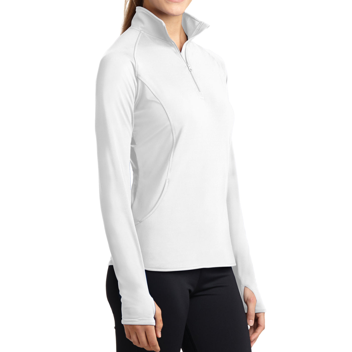 Women's Sport Wick Stretch 1/2 Zip Pullover - White - Side