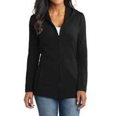 Women's Modern Stretch Cotton Full-Zip Jacket - Black - Front