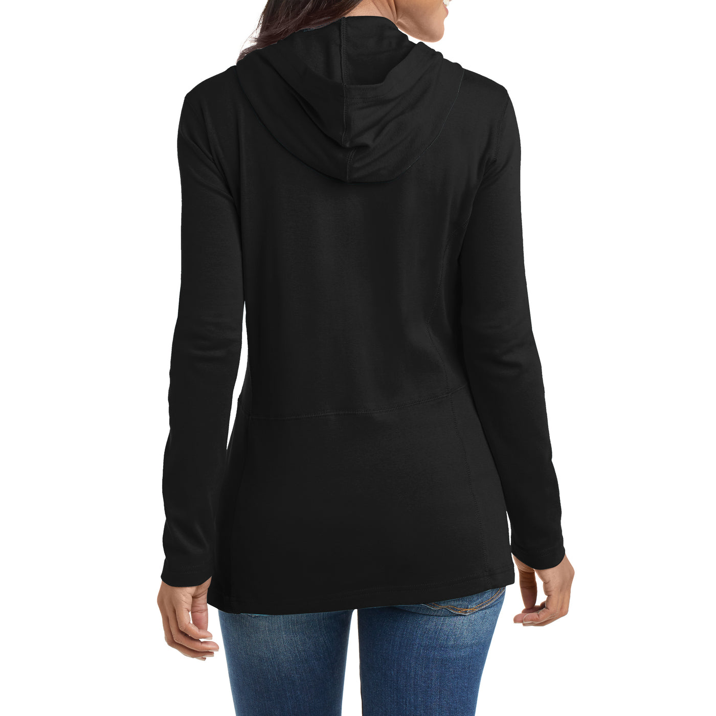 Women's Modern Stretch Cotton Full-Zip Jacket - Black - Back