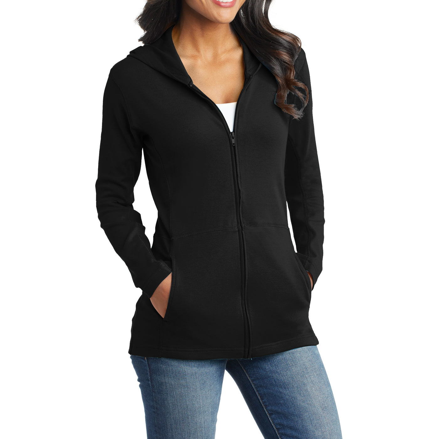 Women's Modern Stretch Cotton Full-Zip Jacket - Black - Side